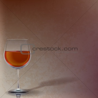 abstract illustration with wineglass on brown
