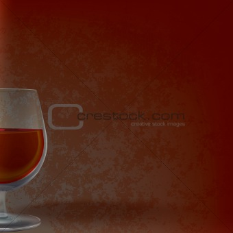 abstract illustration with wineglass on grunge