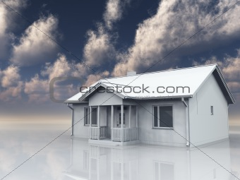 Home in white landscape