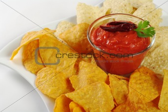 Tomato-Chili Dip with Tacos