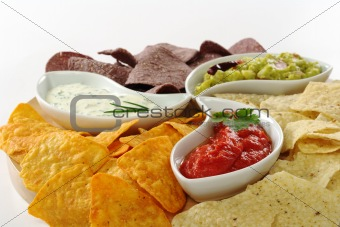 Dips with Tacos and Chips