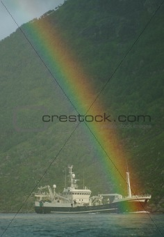 Fishing Boat and a Rainbow