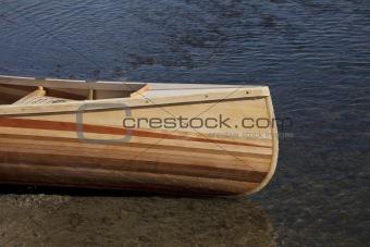 bow of wooden canoe