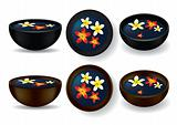 Spa bowls with frangipani flowers - Vector Illustration