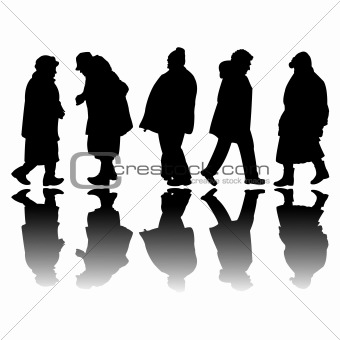 old people black silhouettes