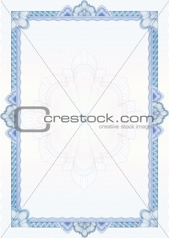 Classic guilloche border for diploma or certificate / vector/ A4