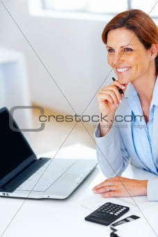 Business woman looking at something interesting