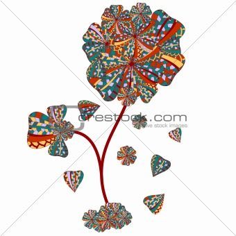 abstract plant with falling petals and flowers