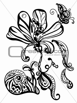 abstract hand drawn flower, snail, and butterfly