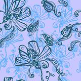seamless absrtact background with flowers and butterflies