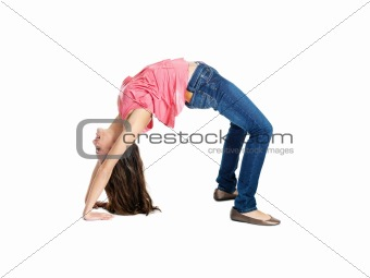 Flexible woman doing back bend
