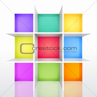 3d isolated Empty colorful bookshel