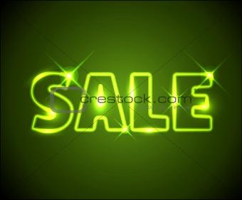Big green shining neon sale advertisement