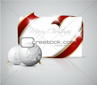 Christmas card - red  ribbon around blank paper