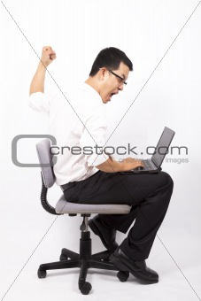 business man angry for computer crash