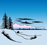 Winter Landscape. Vector