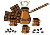 Coffee, chocolate, cup and coffee pot