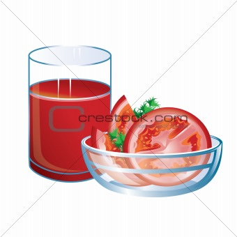 Tomato juice with glass and tomatoes.