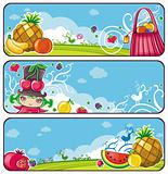 Colorful fruit banners