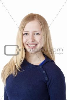 Young beautiful woman smiles happy at camera.