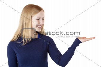Young beautiful blond woman holds palm with ad space