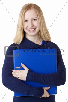 Happy beautiful female woman carrying document folder