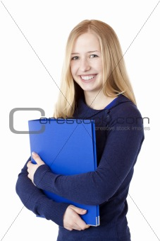 Young successful woman with folder smiles happy