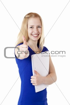 Portrait of young attractive blond student holding a college notepad