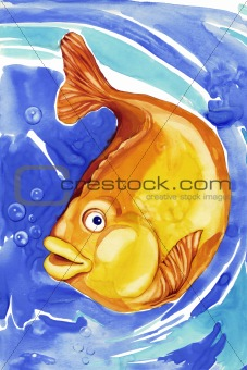 beautiful gold fish in blue water