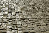 Urban square covered with cobblestone