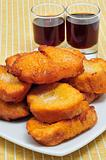 torrijas, typical Lent spanish sweet, and moscatel