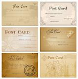 Vintage blank postcard. Vector set