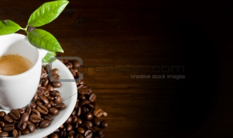 Espresso with green leaves