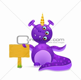 violet smily monster with wooden sign