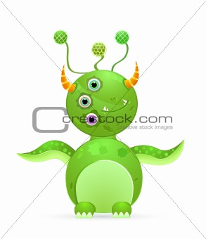 green cute monster with three eyes and horn