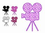 movie camera silhouette icon in patterns