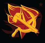 hammer and sickle on the flame star