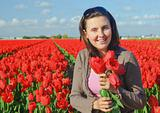 Women In Tulip Field