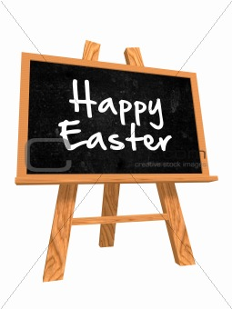3d iblackboard with happy easter