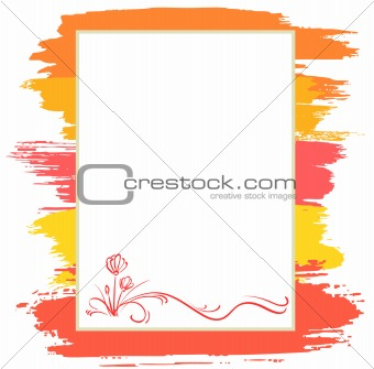 announcement form with red flower and brush, vector background
