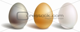 3d vector eggs, gold white silver, isolated and white background