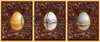 3d vector eggs, gold white silver and grunge brown frame