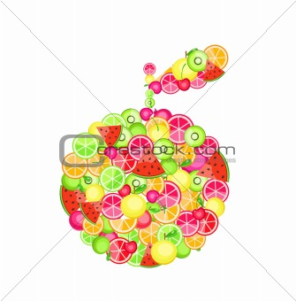 apple silhouette composed of fruits