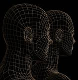 futuristic couple silhouette