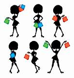 shopping woman silhouettes set