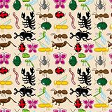 seamless insect pattern