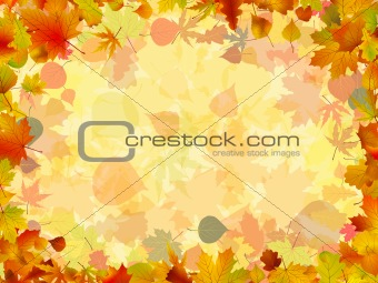 A frame formed by colorful autumn leaves. EPS 8