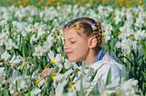 Girl And Daffodils
