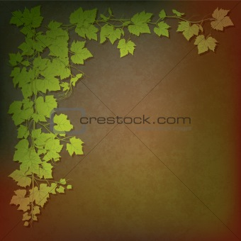 grunge illustration with grape leaves