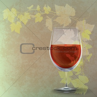 grunge illustration with wineglass on green